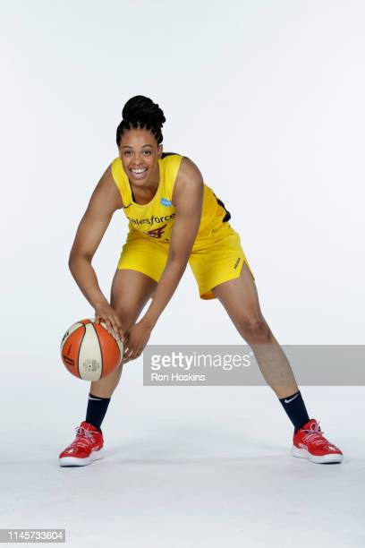 Erica McCall of the Indiana Fever poses for a portrait during the WNBA Media Day at Bankers Life Fieldhouse on May 20, 2019 in Indianapolis, Indiana....