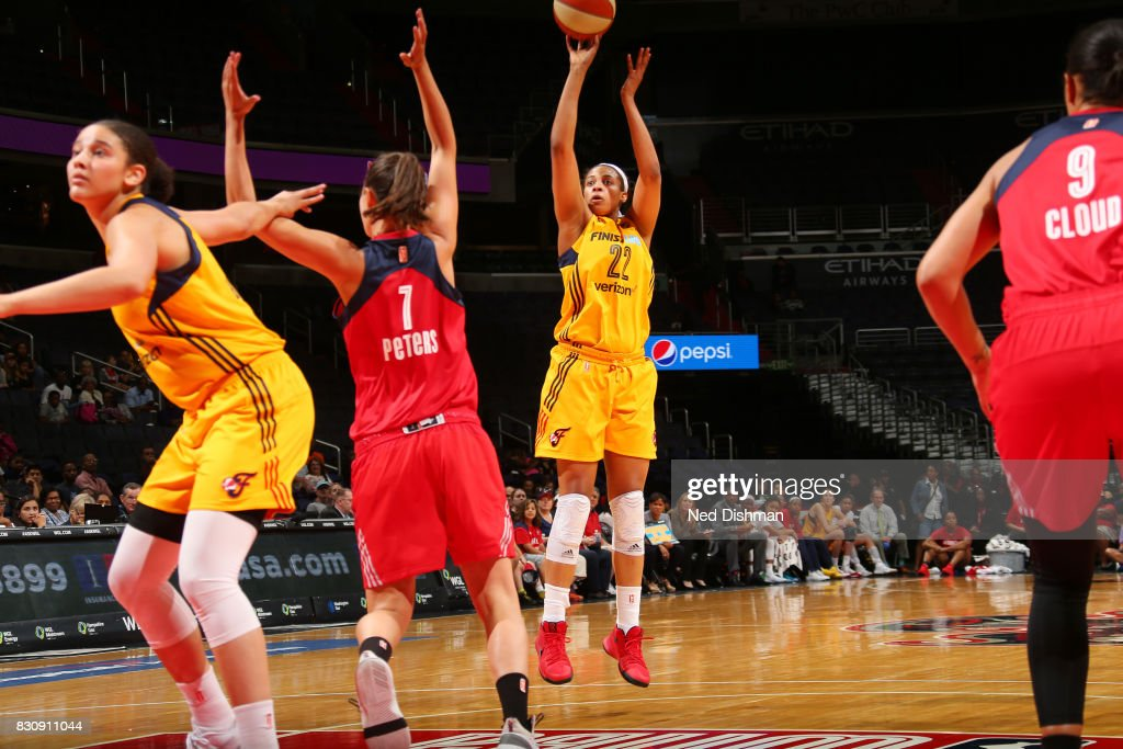Erica McCall #22 of the Indiana Fever shoots the ball against the Washington Mystics on August 12, 2017 at the Verizon Center in Washington, DC.