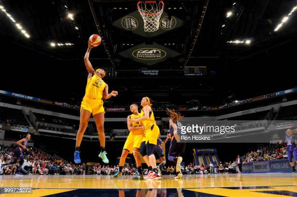 Erica McCall of the Indiana Fever shoots the ball during the game against the Phoenix Mercury on July 15 2018 at Bankers Life Fieldhouse in...