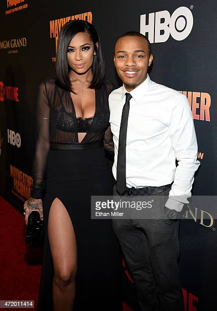Erica Mena and rapper Shad Bow Wow Moss attends the SHOWTIME And HBO VIP PreFight Party for Mayweather VS Pacquiao at MGM Grand Hotel Casino on May 2...
