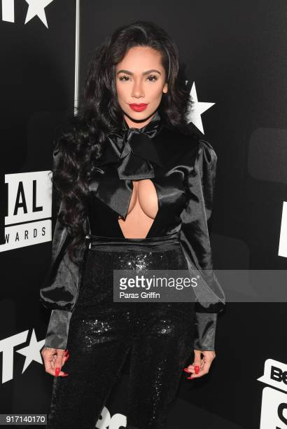Erica Mena attends BET's Social Awards 2018 at Tyler Perry Studio on February 11 2018 in Atlanta Georgia