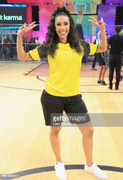 Erica Mena attends the Celebrity Dodgeball Game at 2018 BET Experience Fan Fest at Los Angeles Convention Center on June 22 2018 in Los Angeles...
