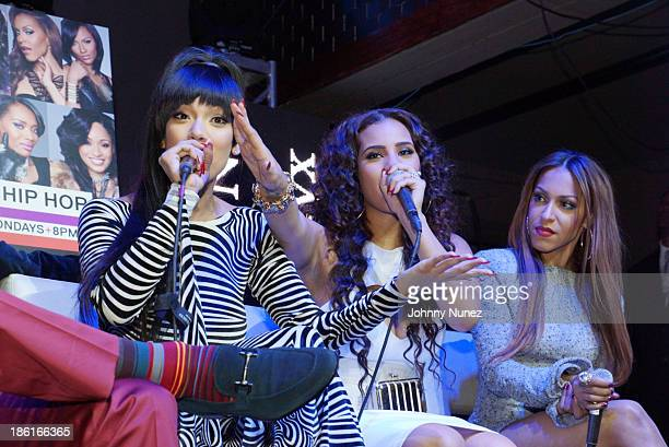 Erica Mena Cyn Santana and Amina Buddafly attend the Love And Hip Hop Season 4 Launch at Stage 48 on October 28 2013 in New York City