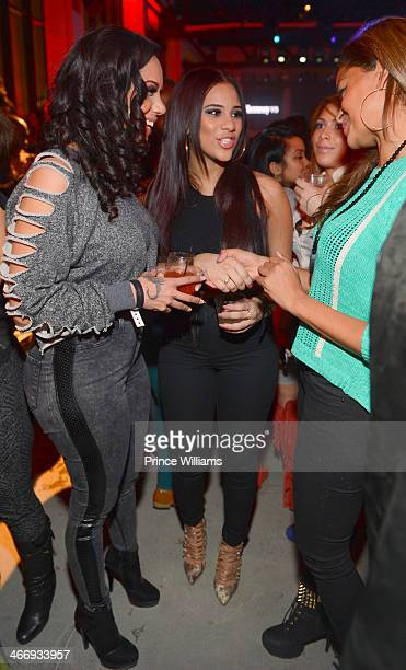 Erica Mena Cyn Santana and Claudia Jordan attend the Never Stop Never Settle party at Spring Studios on February 2 2014 in New York City