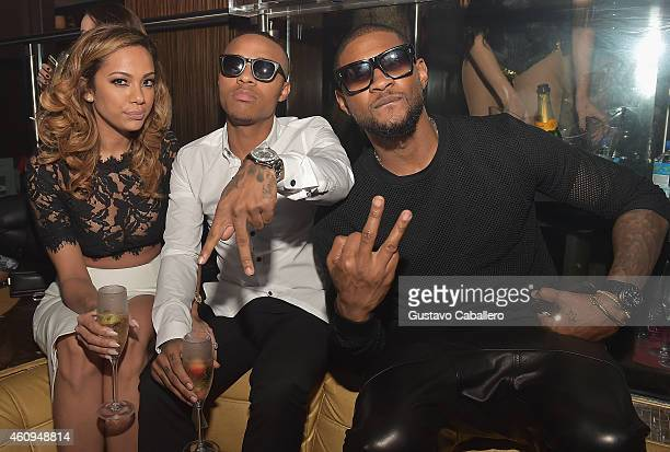 Erica Mena Shad Moss and Usher attend E11EVEN Miami's NYE Celebration at E11EVEN on December 31 2014 in Miami Florida