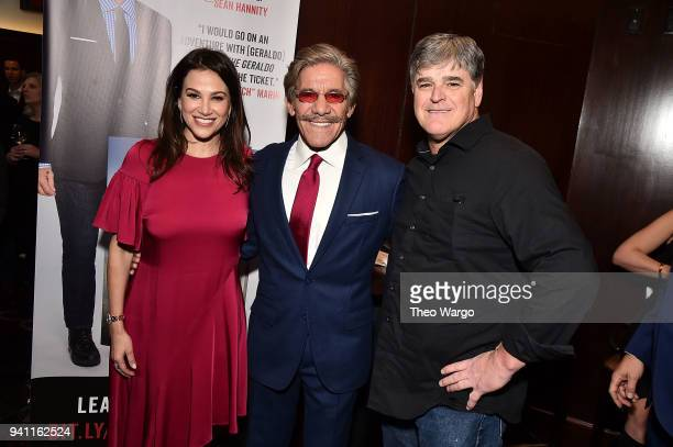 Erica Michelle Levy Geraldo Rivera and Sean Hannity attend Geraldo Rivera Launches His New Book The Geraldo Show A Memoir at Del Frisco's Grille on...