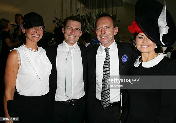 Erica Packer Karl Stefanovic Tony Abbott and Lisa Wilkinson pose during Derby Day at Flemington Racecourse on October 29 2011 in Melbourne Australia