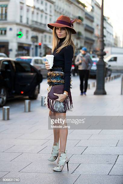 Erica Pelosini at the Schiaparelli show at Place Vendome on January 25 2016 in Paris France