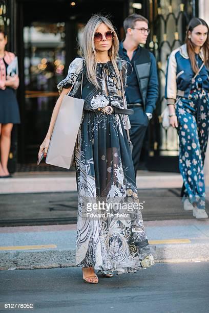 Erica Pelosini is seen during Paris Fashion Week Spring Summer 2017 on October 4 2016 in Paris France