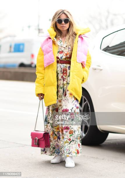Erica Pelosini is seen wearing a Zaid and Voltaire outfit outside the Zadig and Voltaire show during New York Fashion Week: Fall/Winter 2019 on...