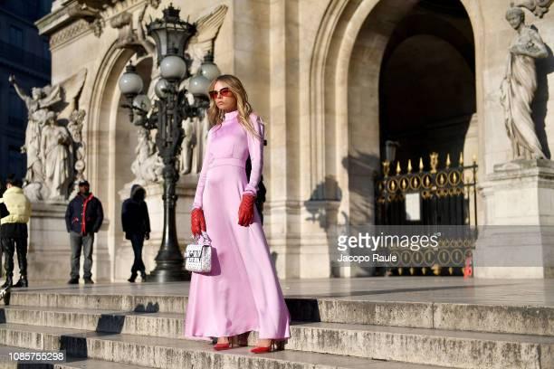 Erica Pelosini Leeman is seen arriving at Schiaparelli show on January 21 2019 in Paris France