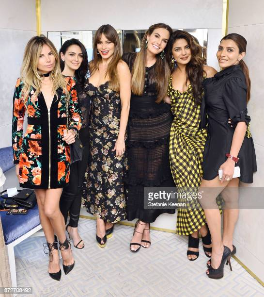 Erica Pelosini Nazanin Boniadi Sofia Vergara Elizabeth Chambers Priyanka Chopra and Mubina Rattonsey attend David Webb Hosts STOP CANCER with...