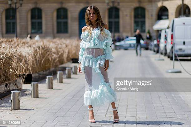 Erica Pelosini outside Schiaparelli during Paris Fashion Week Haute Couture F/W 2016/2017 on July 4 2016 in Paris France