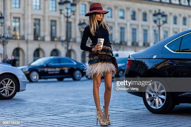 Erica Pelosini outside Schiaparelli during the Paris Fashion Week Haute Couture Spring/Summer 2016 on January 25 2016 in Paris France