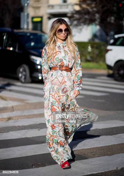 Erica Pelosini wearing a belted dress is seen outside Alberta Ferretti during Milan Fashion Week Spring/Summer 2018 on September 20 2017 in Milan...