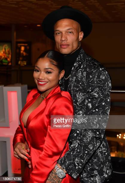 """Erica Pinkett and Jeremy Meeks attend the """"Dutch"""" Atlanta Premiere at AMC Phipps Plaza on March 08, 2021 in Atlanta, Georgia."""