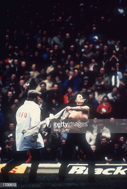 Erica Roe streaks at the Rugby Union International between England and Australia at Twickenham London England on January 2 1982 England went on to...