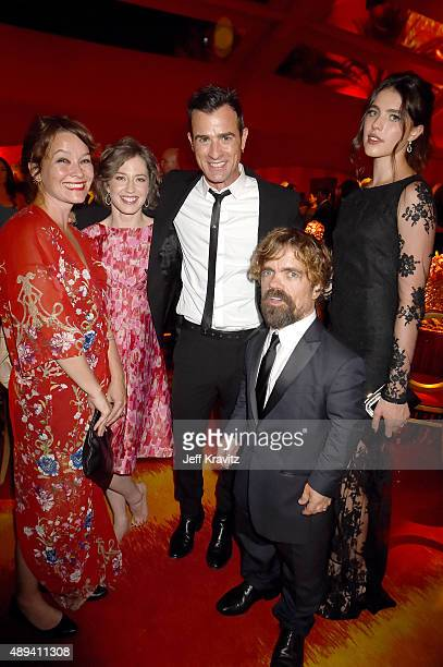 Erica Schmidt Carrie Coon Justin Theroux Peter Dinklage and Margaret Qualley attend HBO's Official 2015 Emmy After Party at The Plaza at the Pacific...