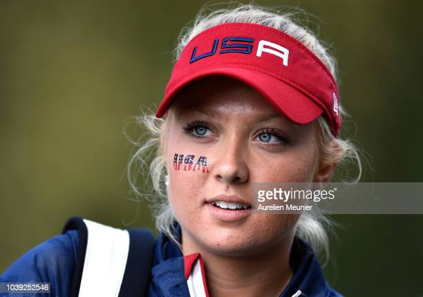 Erica Shepherd of Team USA looks on during the fourballs on day one of the 2018 Junior Ryder Cup at Disneyland Paris on September 24 2018 in Paris...