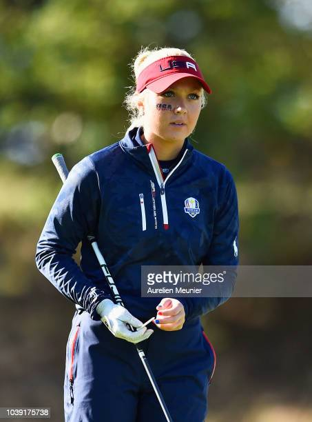 Erica Shepherd of Team USA looks on during the foursomes on day one of the 2018 Junior Ryder Cup at Disneyland Paris on September 24 2018 in Paris...