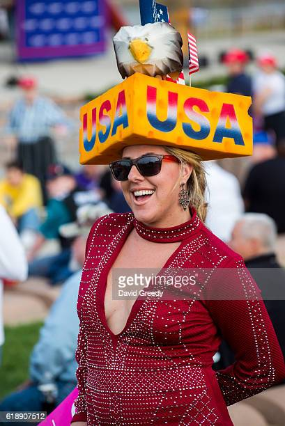 Erica Smith of Green Bay WI attends a rally for Republican Presidential candidate Donald J Trump at the McGrath Amphitheater on October 28 2016 in...