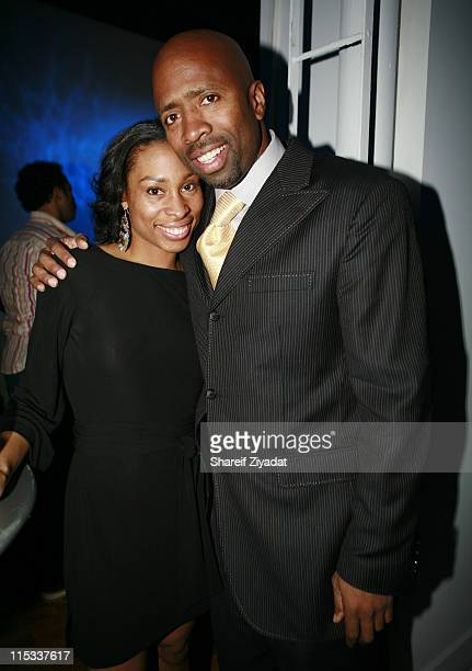 Erica Stanley and Kenny Smith during Blue Ribbons Sports Release Party at Lotus Space in New York City New York United States