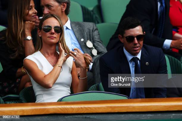 Erica Stoll and Rory McIlroy attend day nine of the Wimbledon Lawn Tennis Championships at All England Lawn Tennis and Croquet Club on July 11 2018...