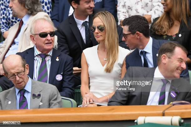 Erica Stoll and Rory McIlroy attend day nine of the Wimbledon Tennis Championships at the All England Lawn Tennis and Croquet Club on July 11 2018 in...