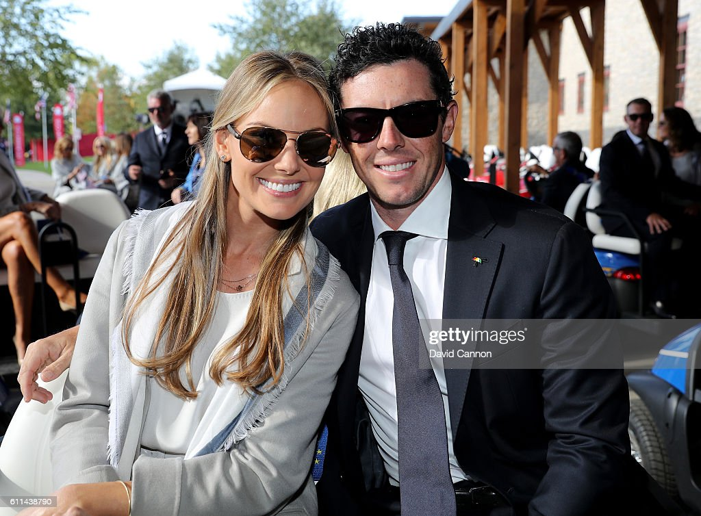Erica Stoll and Rory McIlroy of Europe attend the 2016 Ryder Cup Opening Ceremony at Hazeltine National Golf Club on September 29, 2016 in Chaska, Minnesota.