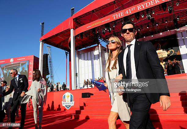 Erica Stoll and Rory McIlroy of Europe depart the 2016 Ryder Cup Opening Ceremony at Hazeltine National Golf Club on September 29 2016 in Chaska...