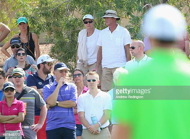 Erica Stoll the girlfriend of Rory McIlroy is seen watching McIlroy on the first hole during the first round of the DP World Tour Championship on the...