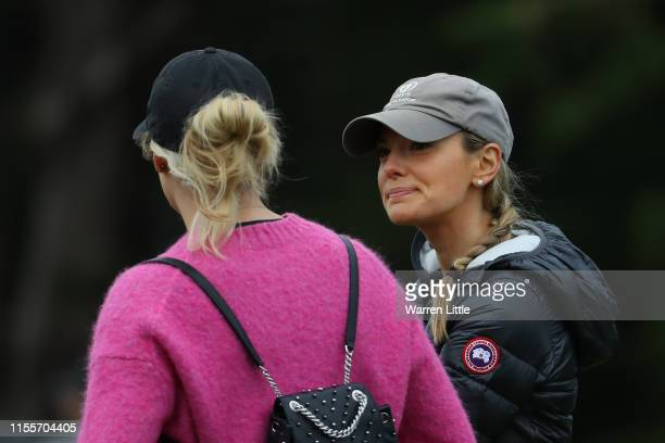 Erica Stoll wife of Rory McIlroy of Northern Ireland is seen during the first round of the 2019 US Open at Pebble Beach Golf Links on June 13 2019 in...