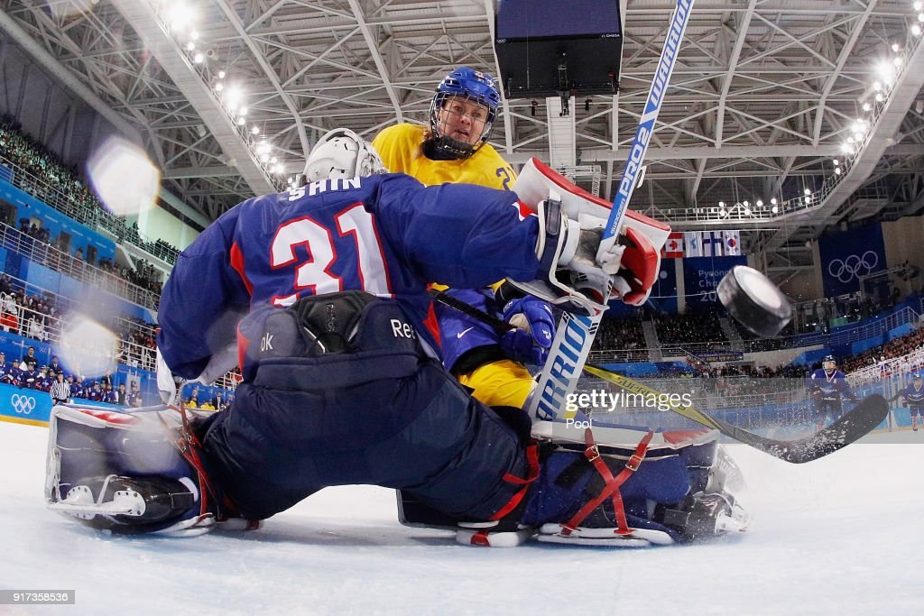 Erica Uden Johansson #21 of Sweden scores a goal in the first period against So Jung Shin #31 of Korea during the Women's Ice Hockey Preliminary Round - Group B game on day three of the PyeongChang 2018 Winter Olympic Games at Kwandong Hockey Centre on February 12, 2018 in Gangneung, South Korea.