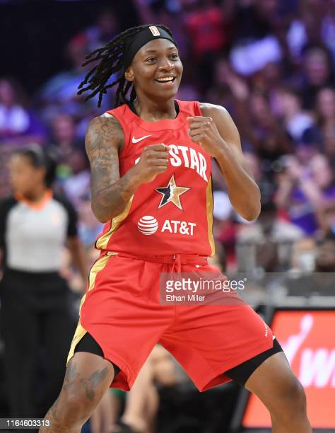 Erica Wheeler of Team Wilson reacts after hitting a 3-pointer against Team Delle Donne during the WNBA All-Star Game 2019 at the Mandalay Bay Events...