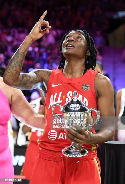 Erica Wheeler of Team Wilson reacts after receiving the MVP trophy at the WNBA All-Star Game 2019 at the Mandalay Bay Events Center on July 27, 2019...