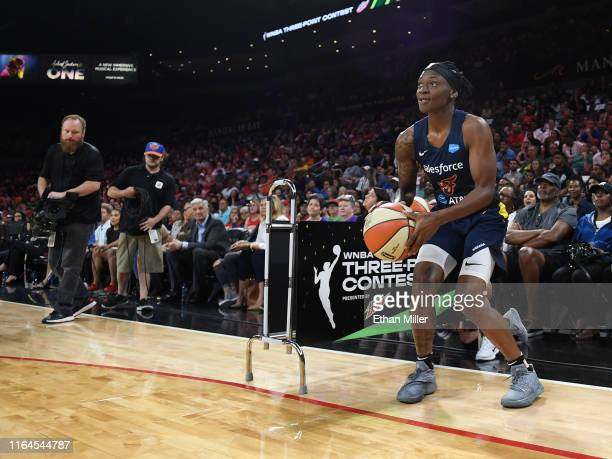 Erica Wheeler of the Indiana Fever competes during the 3-Point Contest of the WNBA All-Star Friday Night at the Mandalay Bay Events Center on July...