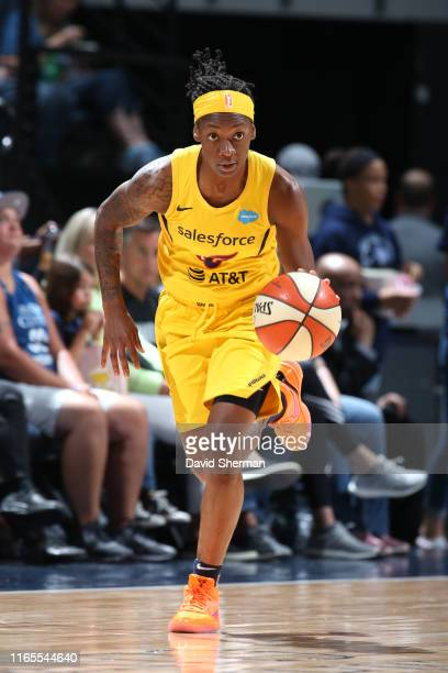 Erica Wheeler of the Indiana Fever drives to the basket against the Minnesota Lynx on September 1, 2019 at the Target Center in Minneapolis,...