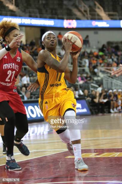 Erica Wheeler of the Indiana Fever drives to the basket against the Washington Mystics on May 2 2017 at Indiana Farmers Coliseum in Indianapolis...