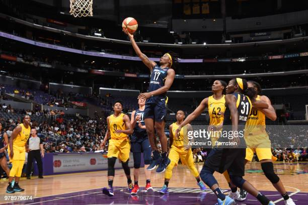 Erica Wheeler of the Indiana Fever goes to the basket against the Los Angeles Sparks on June 19 2018 at STAPLES Center in Los Angeles California NOTE...