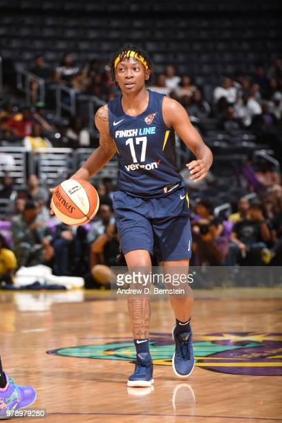 Erica Wheeler of the Indiana Fever handles the ball against the Los Angeles Sparks on June 19 2018 at STAPLES Center in Los Angeles California NOTE...