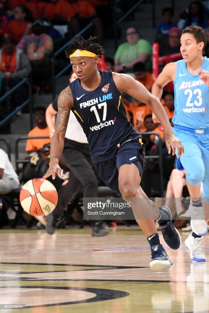 Erica Wheeler #17 of the Indiana Fever handles the ball against the Atlanta Dream on June 14, 2018 at Hank McCamish Pavilion in Atlanta, Georgia.