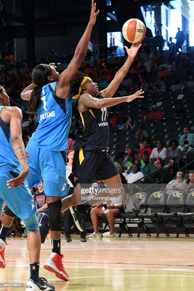 Erica Wheeler #17 of the Indiana Fever shoots the ball against the Atlanta Dream on June 14, 2018 at Hank McCamish Pavilion in Atlanta, Georgia.