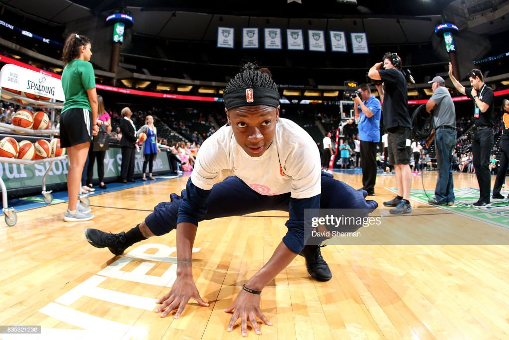 Erica Wheeler #17 of the Indiana Fever stretches before the game against the Minnesota Lynx during the WNBA game on August 18, 2017 at Xcel Energy Center in St. Paul, Minnesota.