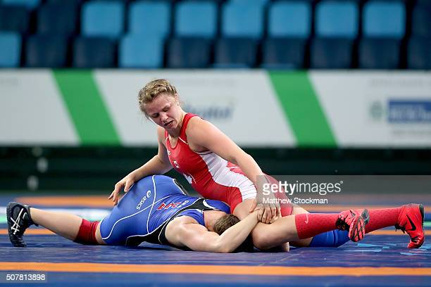 Erica Wiebe of Canada wrestles Adeline Gray of the United States in the freestyle 75 kg during the Womens Wrestling Tournament Aquece Rio Test Event...