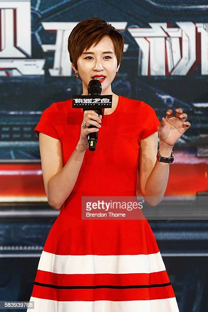 Erica Xiahou speaks on stage during a press conference and photocall for Bleeding Steel at Sydney Opera House on July 28 2016 in Sydney Australia