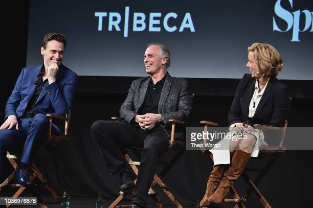 Erich Bergen Keith Carradine and Tea Leoni speak onstage at the Madame Secretary Season 5 Premiere at Spring Studios on September 20 2018 in New York...
