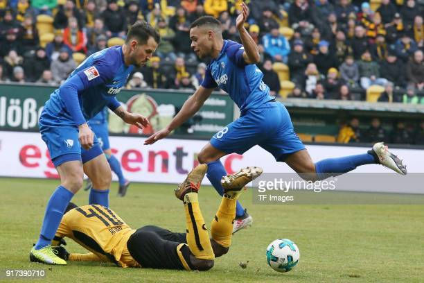 Erich Berko of Dresden and Jan Gyamerah of Bochum battle for the ball during the Second Bundesliga match between SG Dynamo Dresden and VfL Bochum...