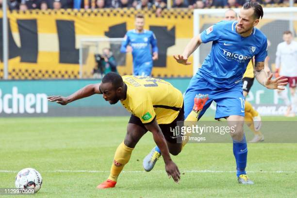 Erich Berko of Dynamo Dresden and Patrick Fabian of VfL Bochum 1848 battle for the ball during the second Bundesliga match between Dynamo Dresden and...