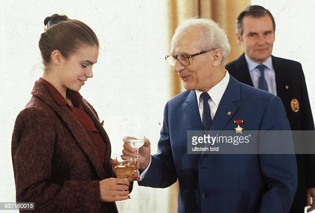 'Erich Honecker East German politician receiving athletes of outstading merit after the Olympic Games in Sarajevo From left Manfred Ewald Erich...