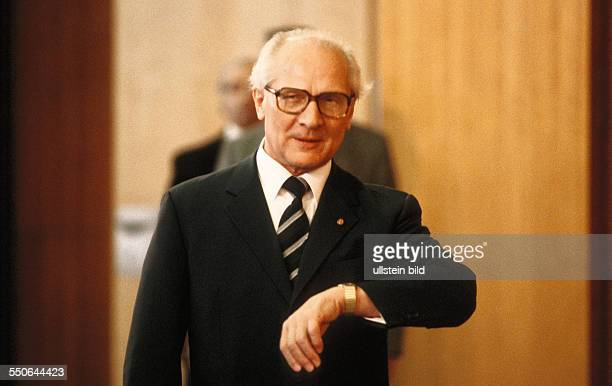 Erich Honecker General Secretary of the Central Committee of the Socialist Unity Party of Germany waiting for a guest in the State Council building...